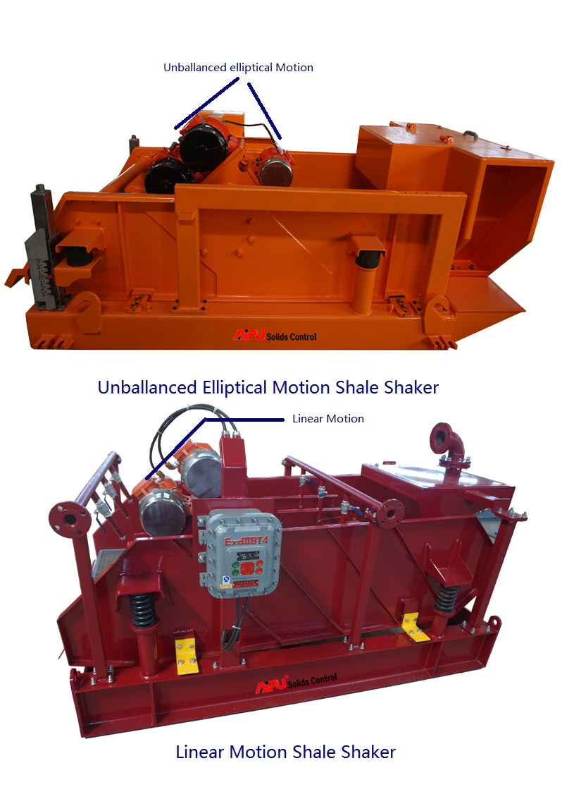 linear motion and unballanced motion shale shakers
